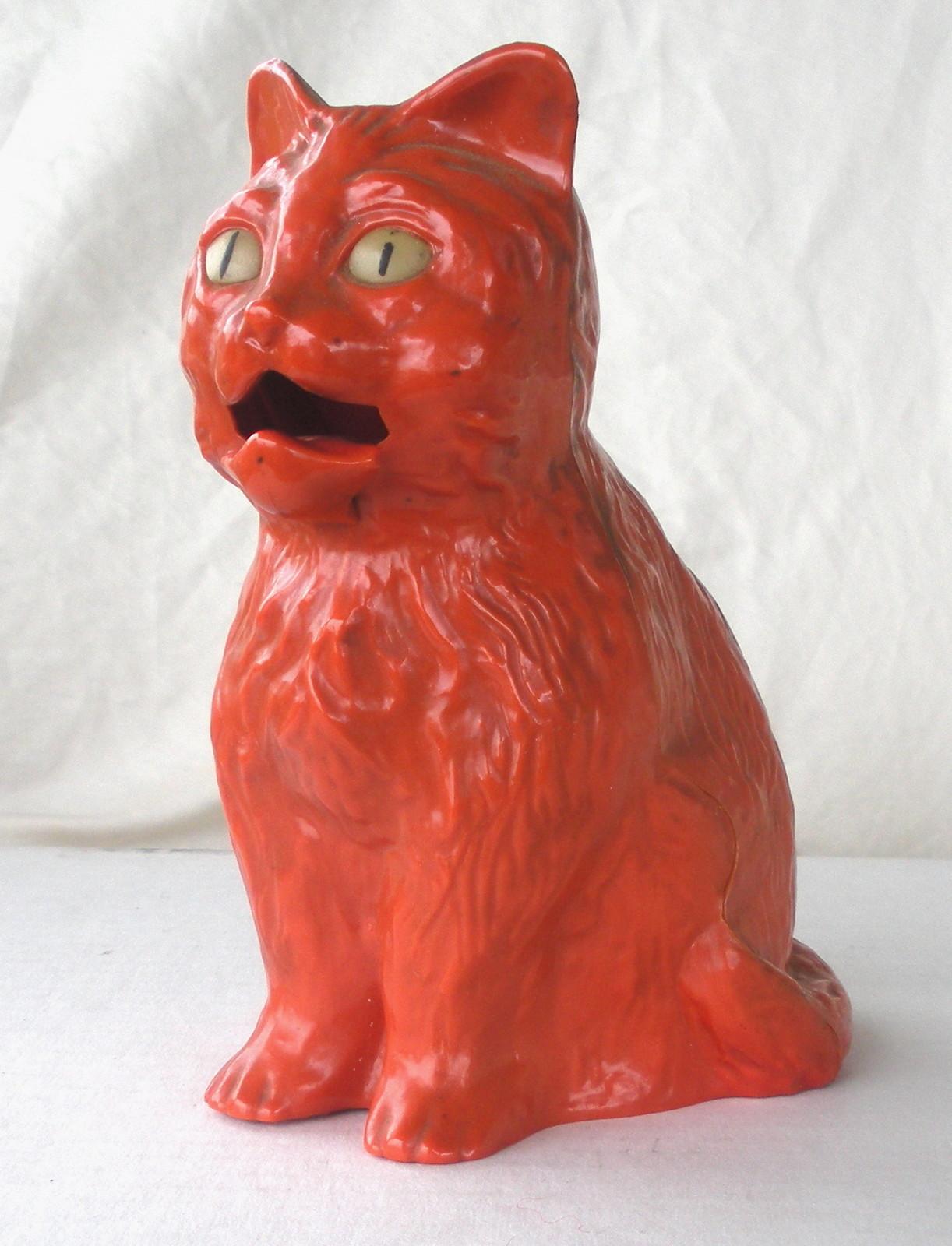 Vintage halloween decorations plastic - Rare 1950 S Vintage Hard Plastic Halloween Orange Cat Bank