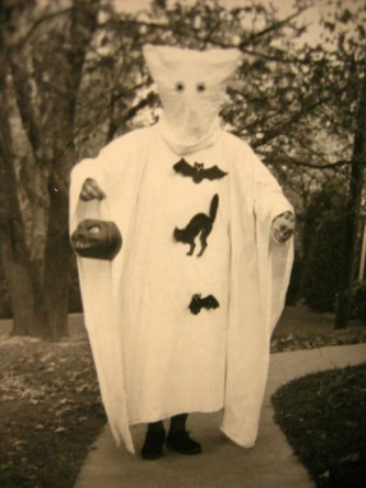 Vintage B&W 1950's Halloween Original Photograph Kid in Ghost Costume w:Pumpkin_003
