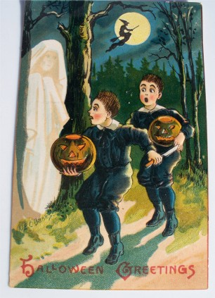 Vtg Halloween Postcard PC Saxony 1909 Scared Boys JOL Witch Ghost Hold to Light!_001