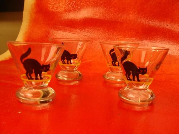Four Vintage Black Cat Halloween Painted Shot Glasses