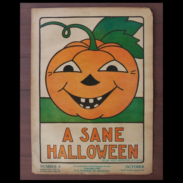 Vtg 40s Have a Sane Halloween School Poster JOL Decoration Elise Reid Boylston