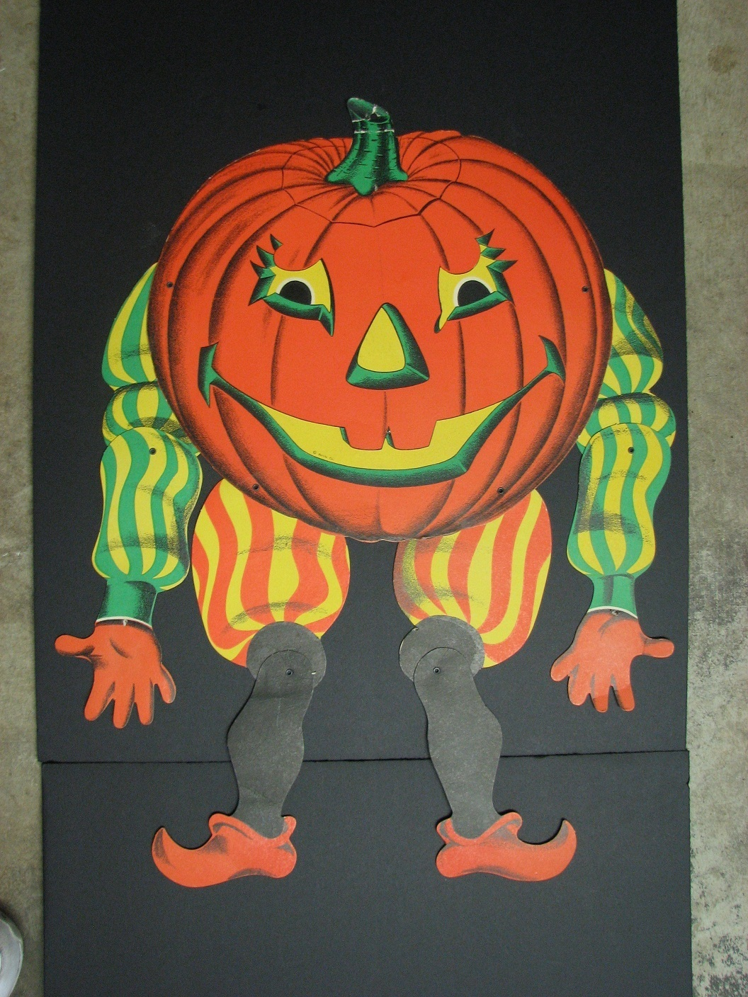 vintage beistle halloween pumpkin jack o lantern jointed die cut party decoration001 - Beistle Halloween Decorations