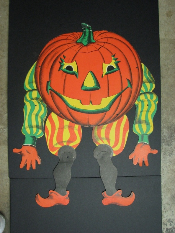 Vintage Beistle Halloween Pumpkin Jack O Lantern Jointed Die Cut Party Decoration001